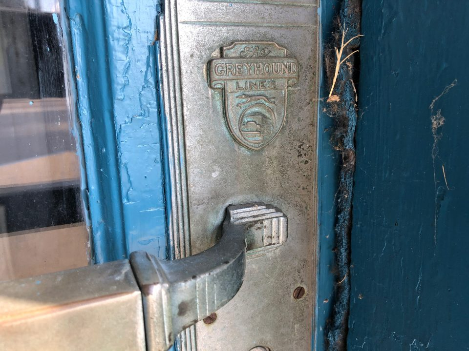 Vintage architectural details on the door of the 1938 Greyhound bus station in Jackson, Tennessee