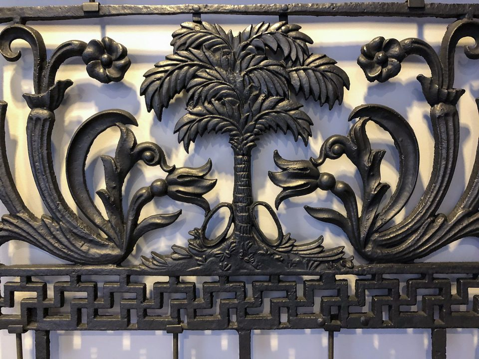 Cast iron parapet covers from the 1840s, as seen in the Charleston Museum.