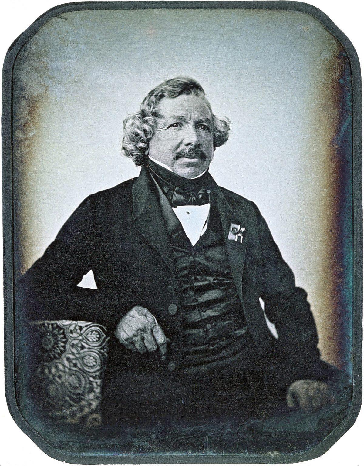 Daguerreotype portrait of Louis Daguerre, inventor of the process, photographed in 1844 by Jean-Baptiste Sabatier-Blot. Image in the public domain.