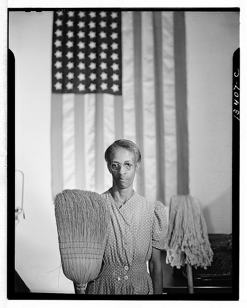 The Library of Congress, Washington, D.C., Government charwoman, Gordon Parks, 1912-2006, photographer, 1942 Aug. 1, safety negative; 4 x 5 inches or smaller (Public domain)