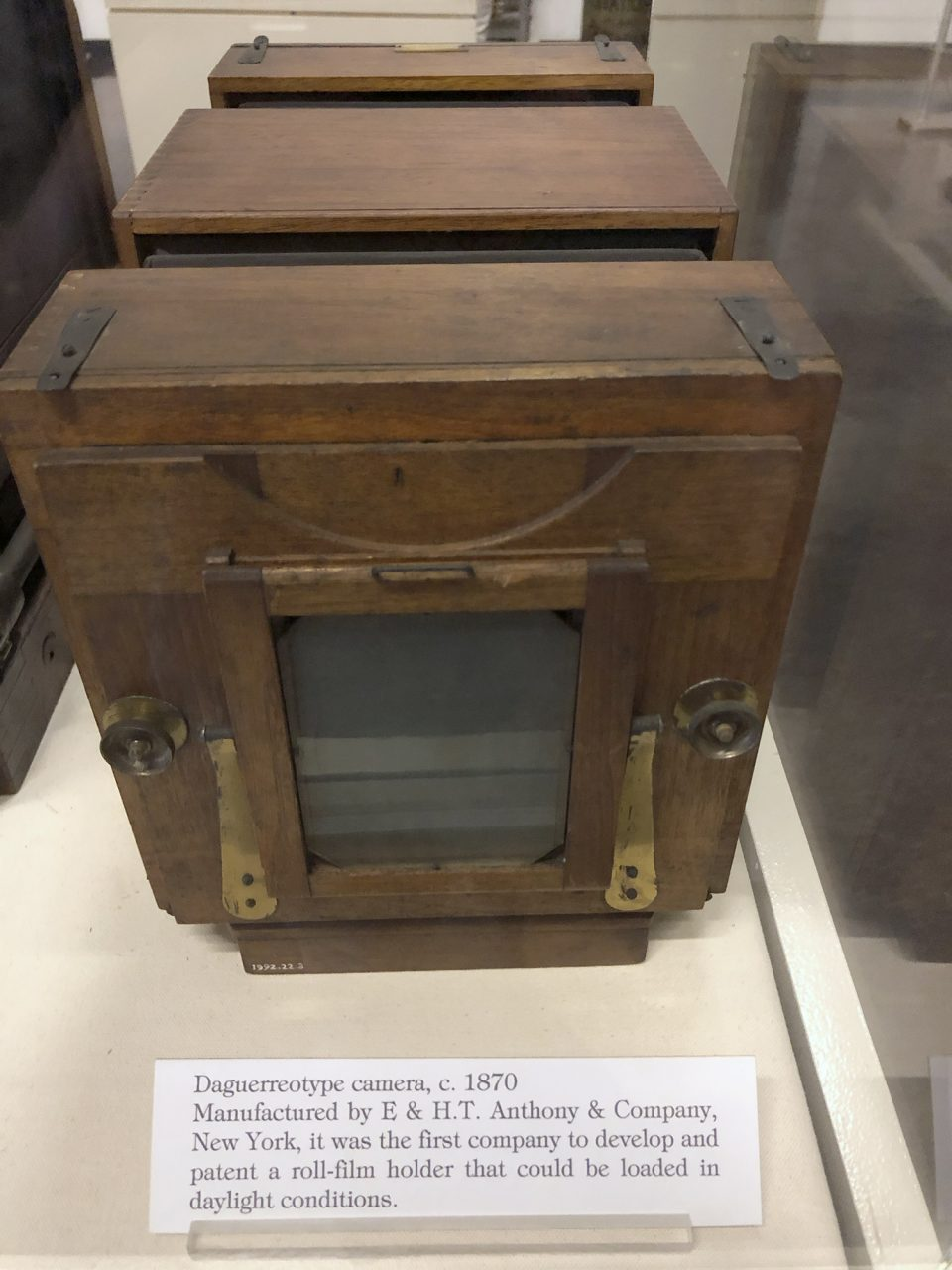 Daguerreotype camera, c. 1870 Manufactured by E & HT Anthony and Company, New York. It was the first company to develop and patent a roll-film holder that could be loaded in daylight conditions.