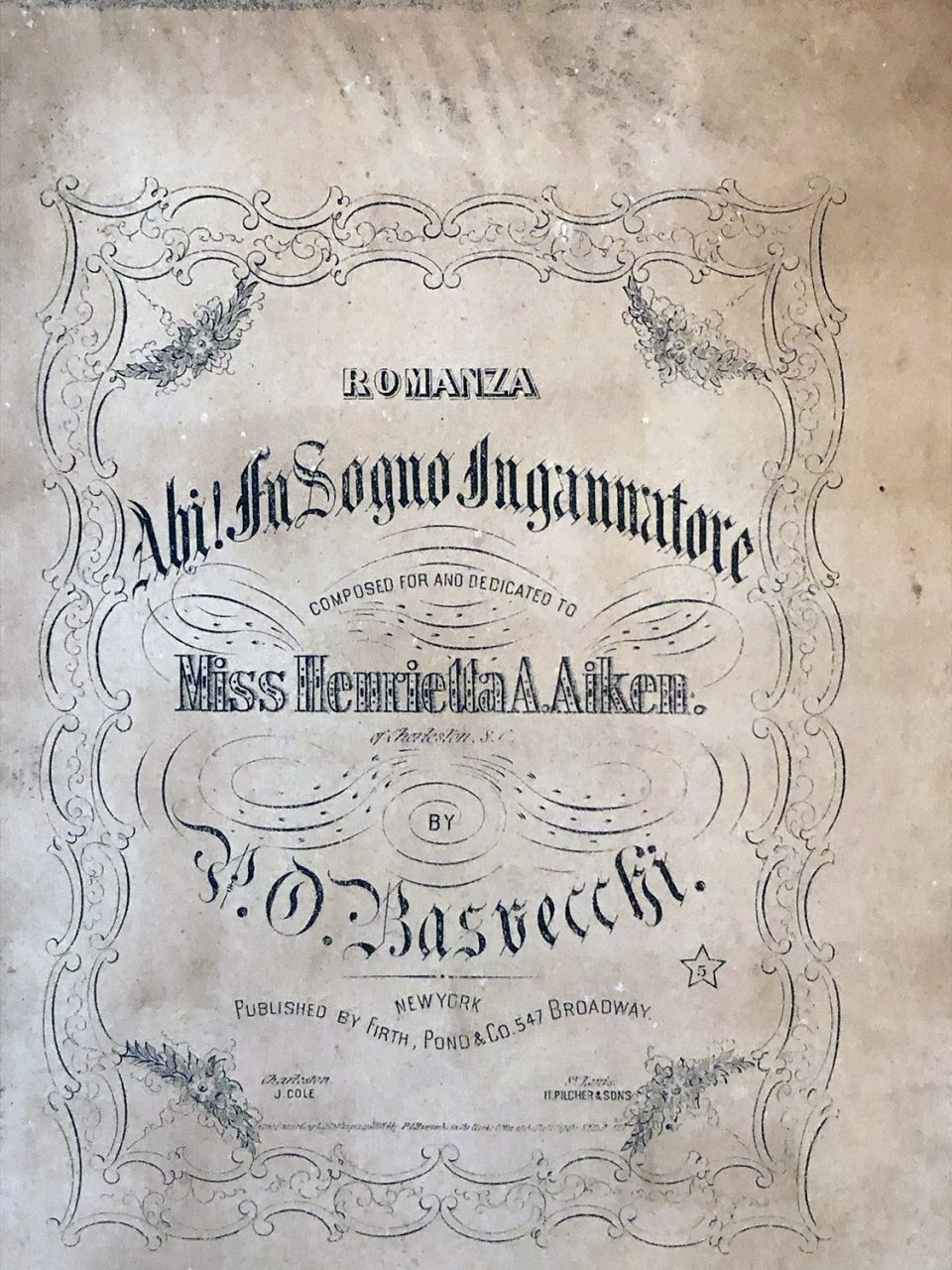 A piece of sheet music composed and dedicated to the lady of the house