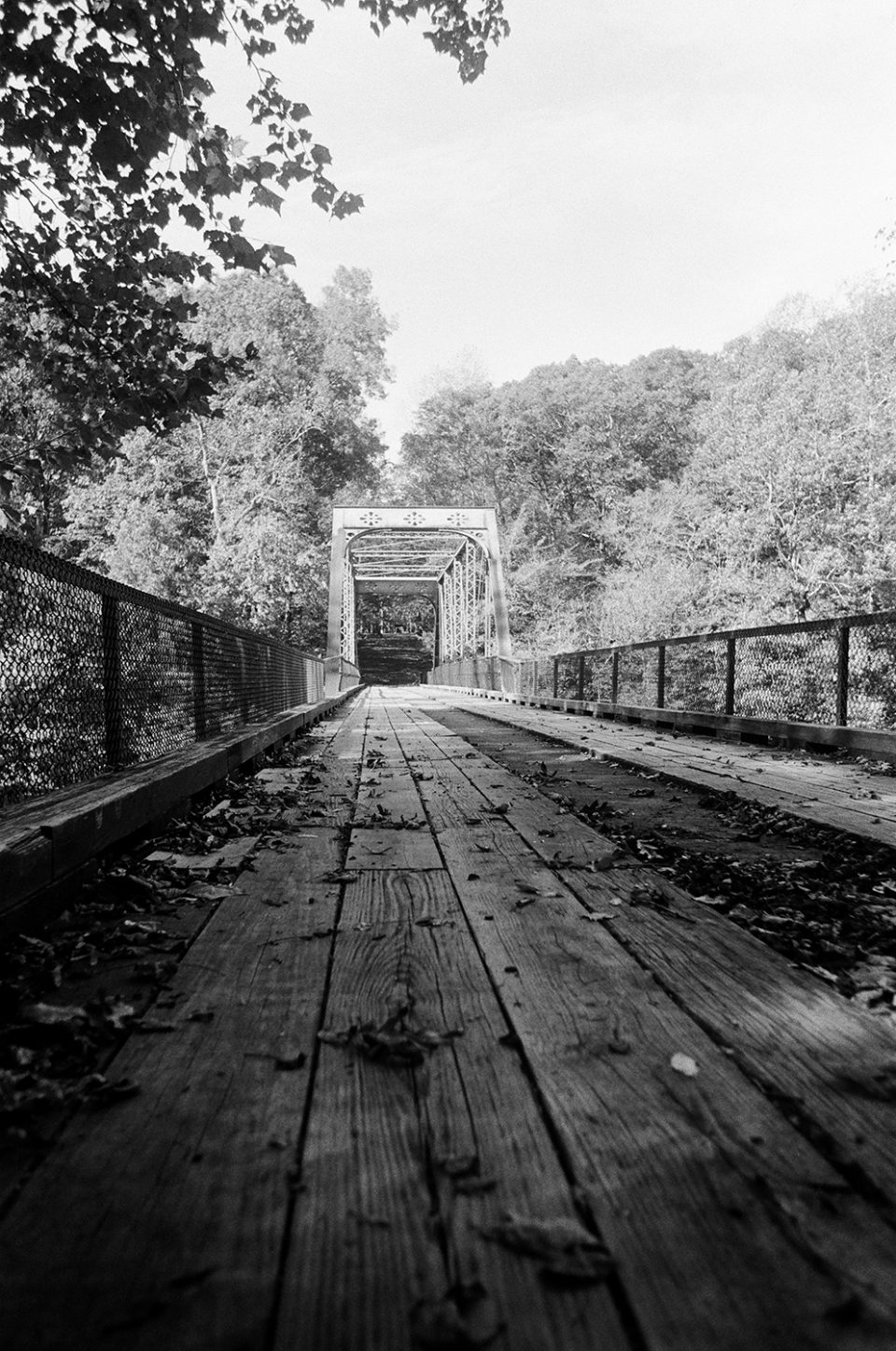 The final shot on the roll, this old one-lane bridge appears to be free of flaws or artifacts. Shot with a Canon AT-1 with an early 80s model Canon FD 28mm lens, on Ilford HP5 film.