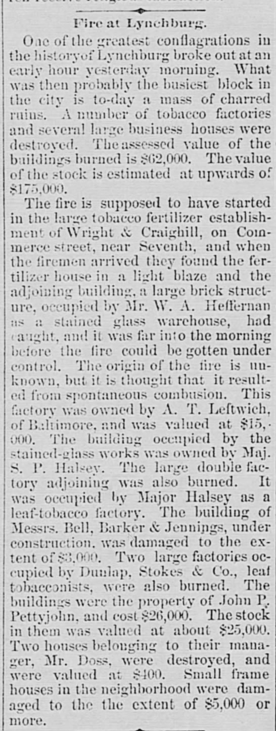 News article about a fire in the commercial block on Commerce Street in Lynchburg Virginia. Published in the Alexandria Gazette, Alexandria, Virginia on Friday, Nov 25, 1892, Page 2.