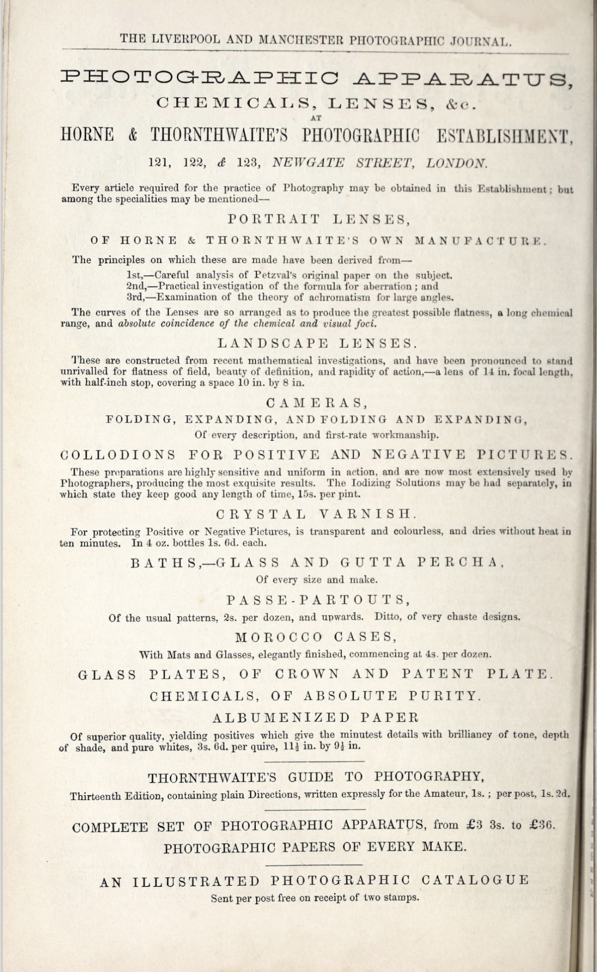 Historic ad for Horne & Thornthwaite's Photographic Establishment in London circa 1857