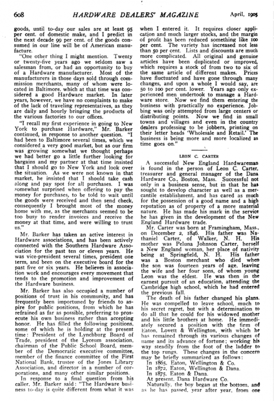 Page two of an article about O. B. Barker, of the Barker-Jennings Corporation in Lynchburg, VA. This was published in the Hardware Dealers Magazine in April 1905.