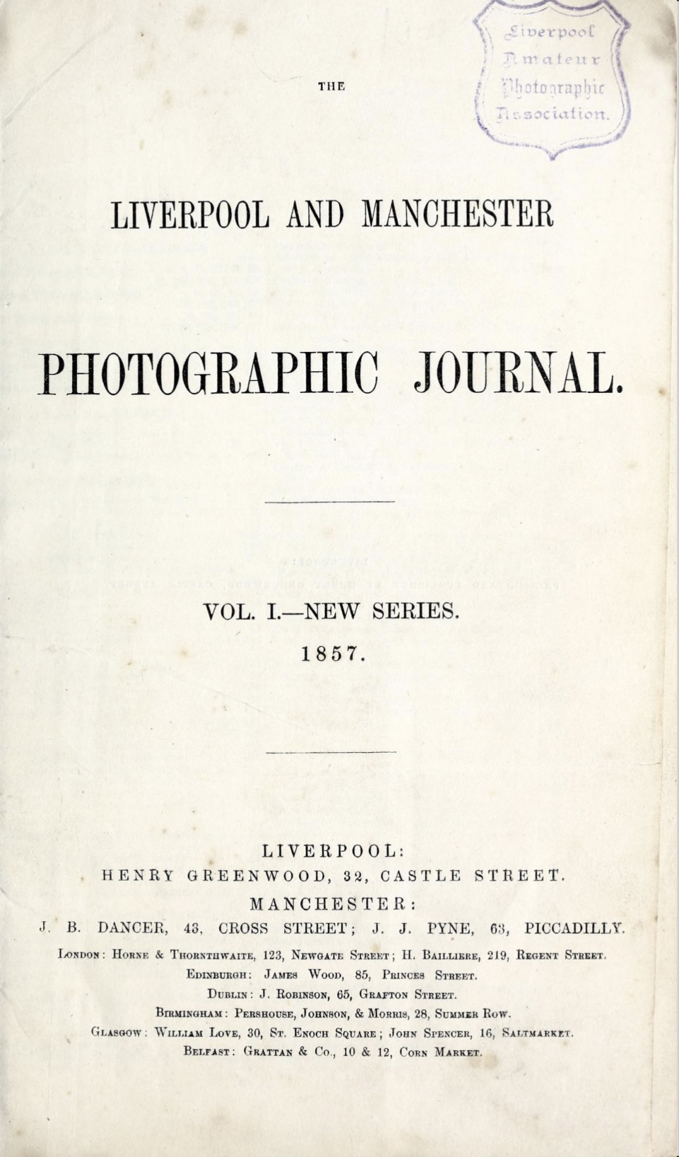 Title page from 'The Albumen Process,' from The Liverpool and Manchester Photographic Journal, Vol. 1, 1857