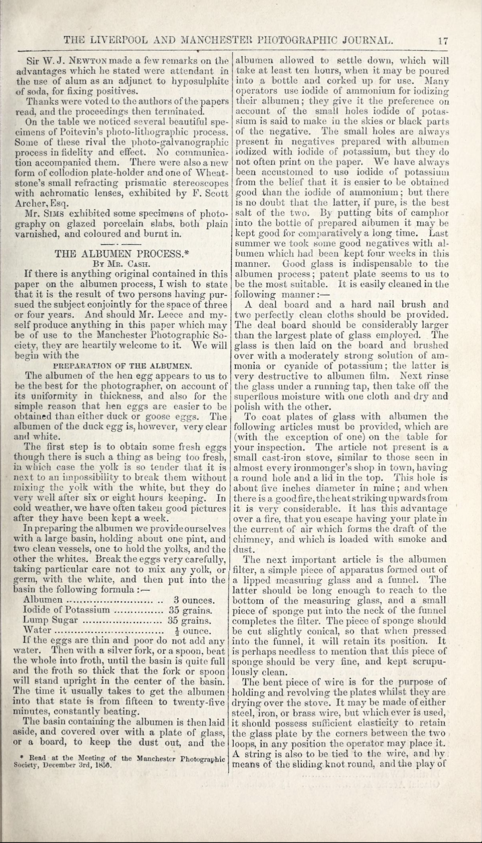 'The Albumen Process,' from The Liverpool and Manchester Photographic Journal, Vol. 1, 1857, page 17