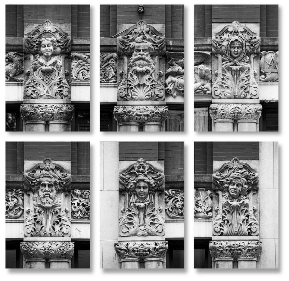 Set of six photographs of the faces seen on the exterior of Asheville's Drhumor Building, carved in 1895 by Frederick B. Miles. Buy prints here.