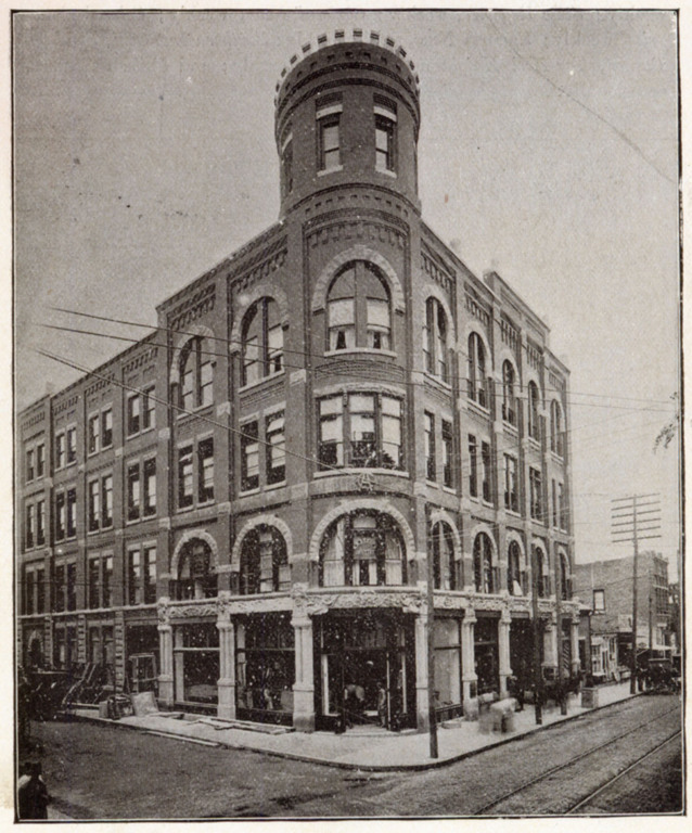 Photograph of the historic Drhumor Building in Asheville, North Carolina, in 1896, soon after its construction. Courtesy of Pack Memorial Public Library, Asheville, North Carolina.