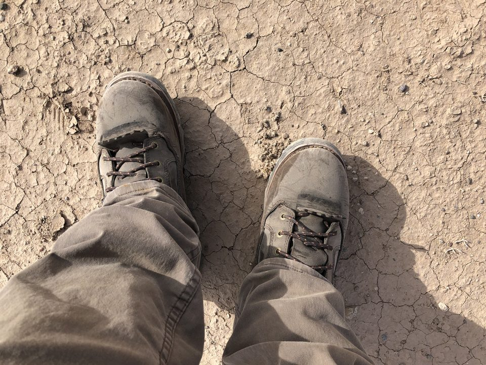 The dust of the ages on my hiking boots.