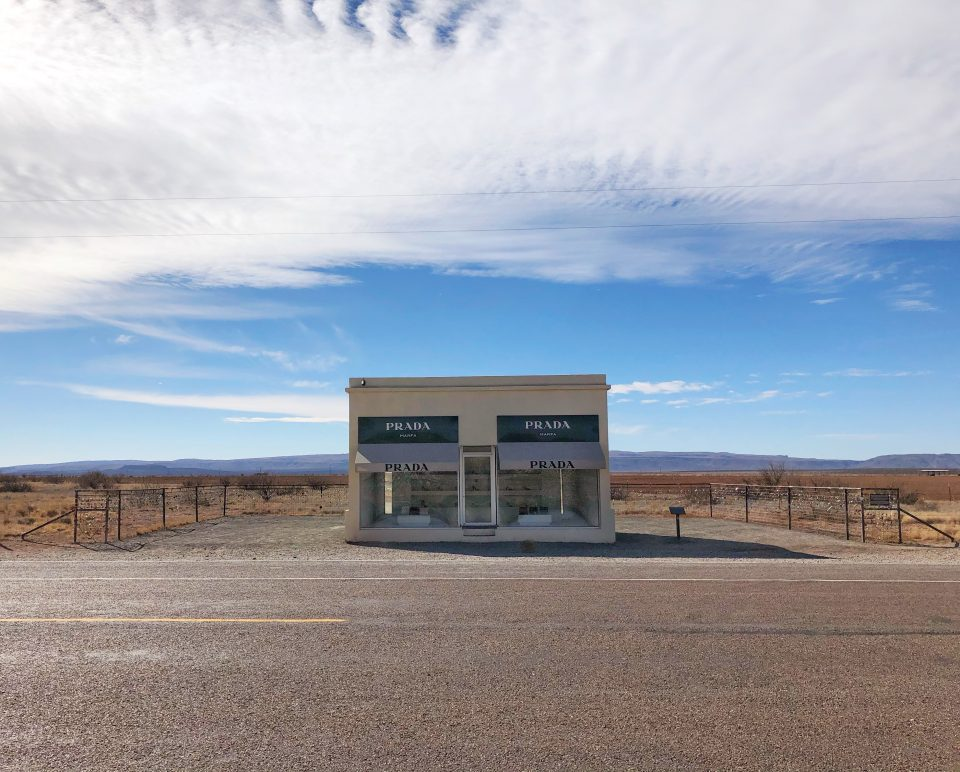 Prada Marfa, as seen from across the highway. This was a rare opportunity to photograph the famous structure without visitors in the shot. Photograph by Keith Dotson. Copyright 2020. All rights reserved.