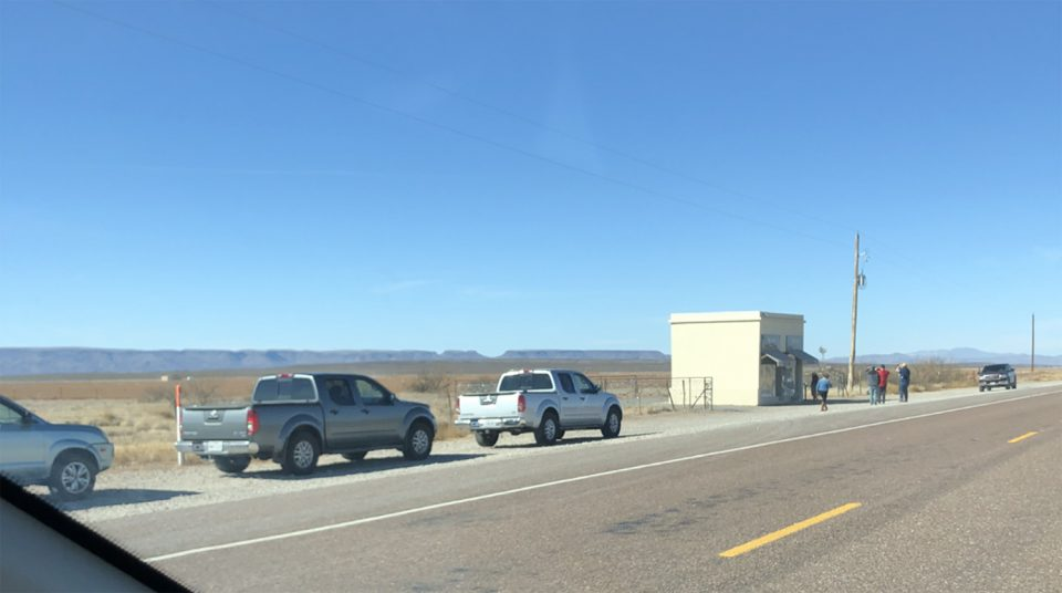 This image shows a more typical experience visiting Prada Marfa