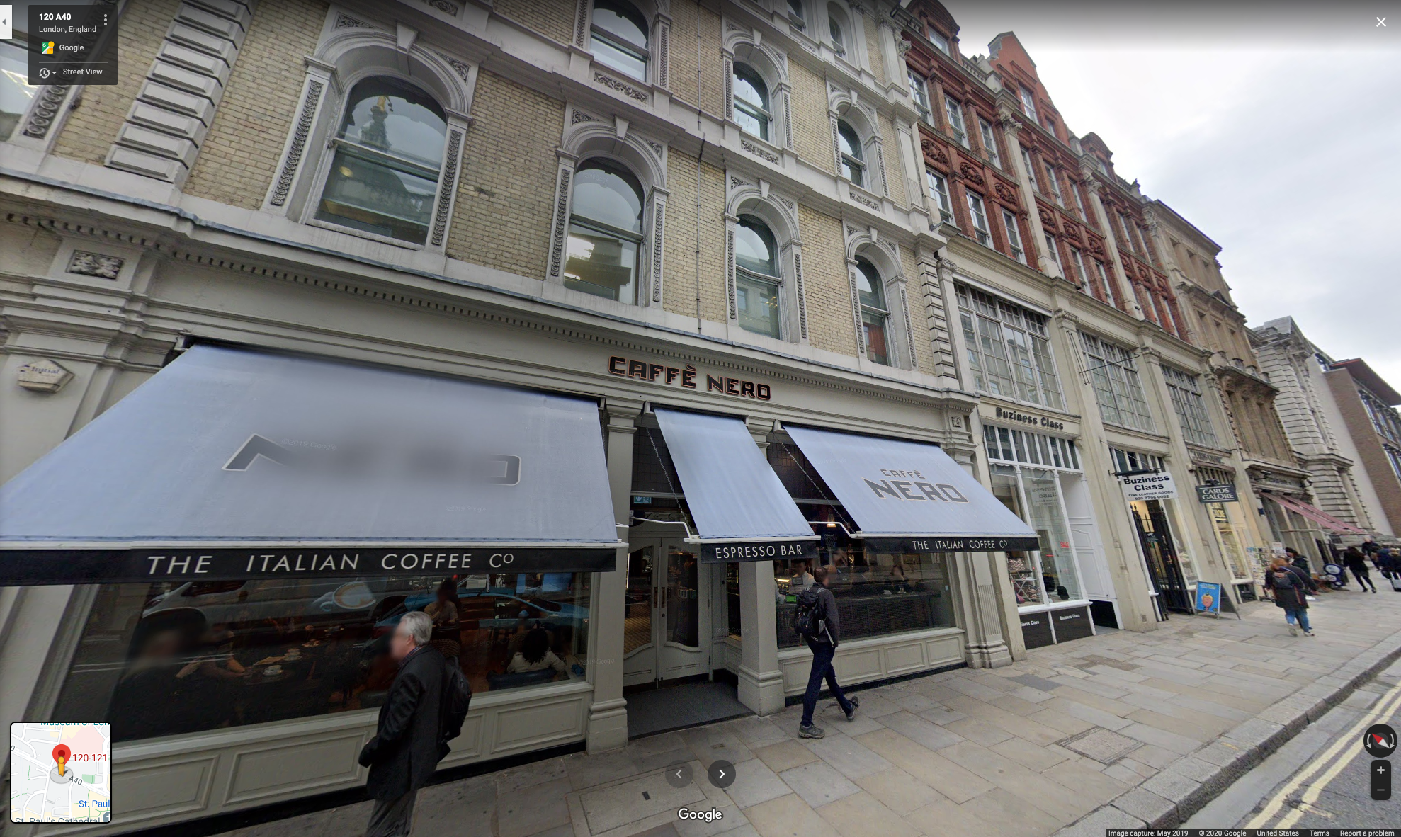Google Street View of 121-123 Newgate Street in London, showing the location of the camera shop as it looks today.