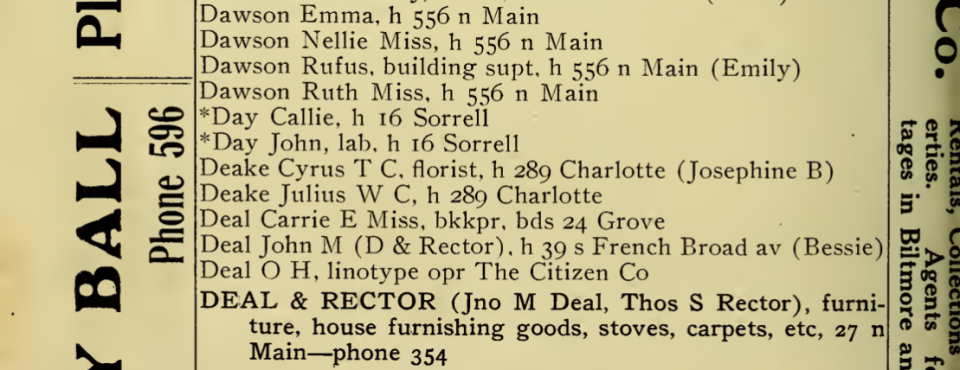 A listing for Cyrus Deake, florist at 289 Charlotte in the City Directory of Asheville, North Carolina, 1907-1908