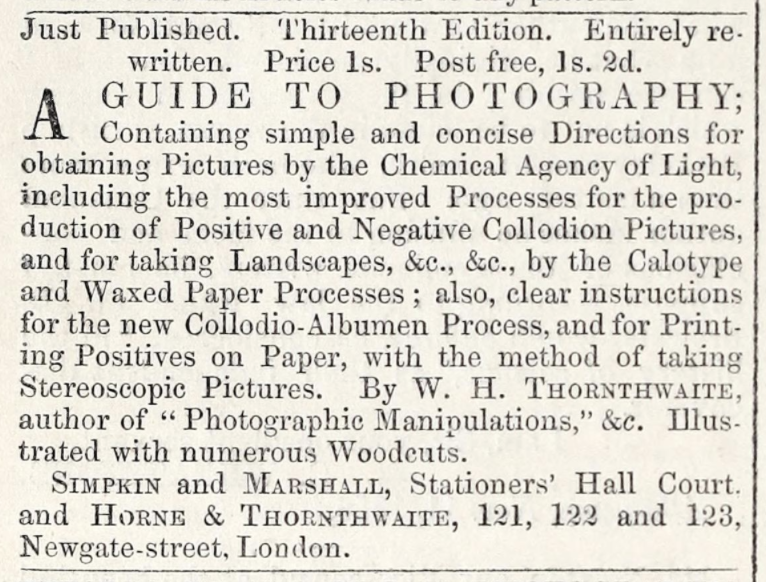 """Another ad from Horne & Thornthwaite in the same publication, this one featuring a book called """"A Guide to Photography, 13th Edition."""""""