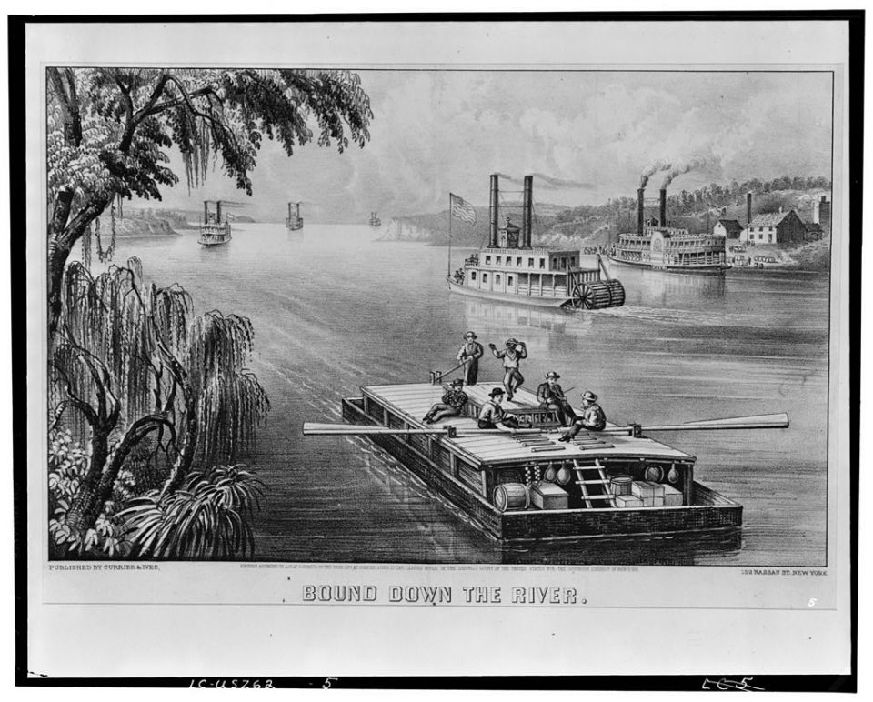 This lithograph from Currier and Ives shows a flat boat in the foreground, with steamboats in the distance. This was created in 1870, well after the period of piracy at Cave-In-Rock. Library of Congress Prints and Photographs Division Washington, D.C. 20540 USA http://hdl.loc.gov/loc.pnp/pp.print