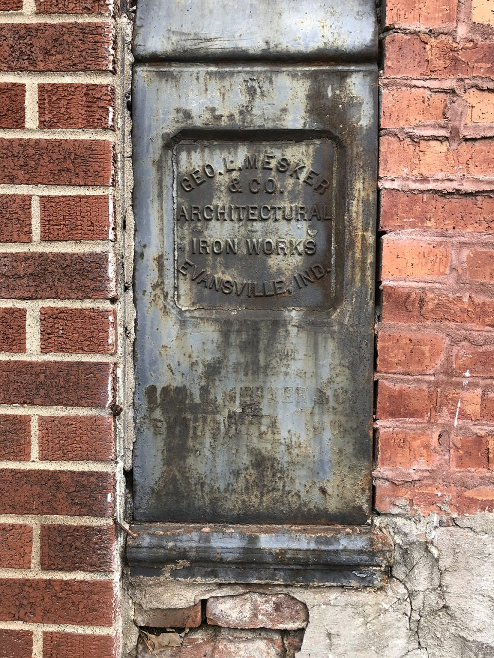 Markers for historic George L. Mesker and Company Architectural Iron Works.