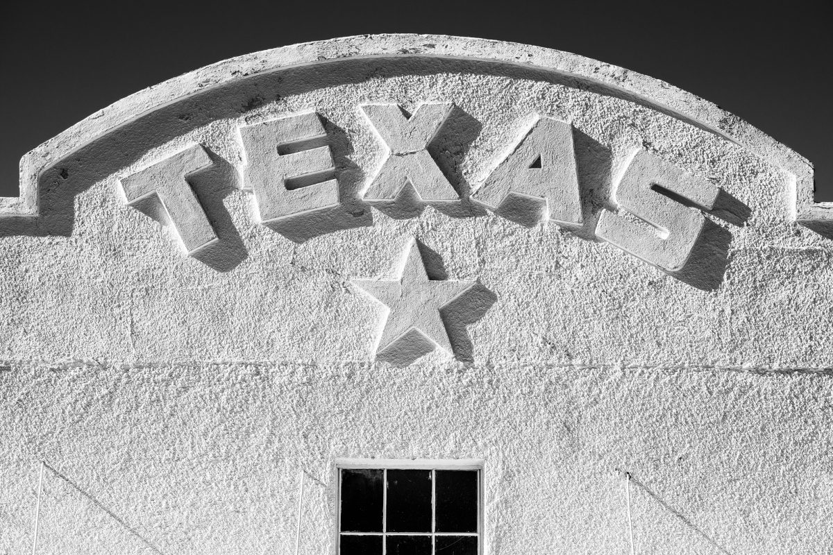 Black and white photograph of the Texas Theater in Marfa, Texas, by Keith Dotson.