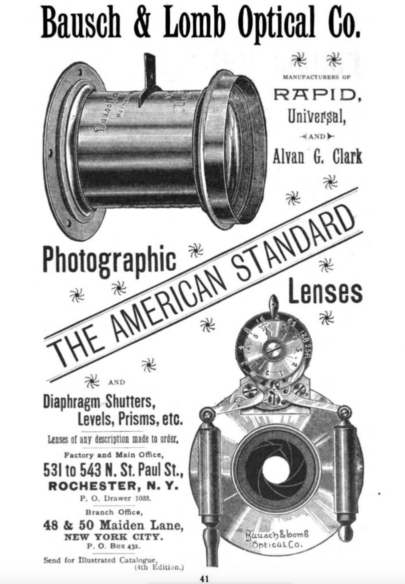 Ad for photography Bausch & Lomb lenses published in American Annual of Photography in 1892