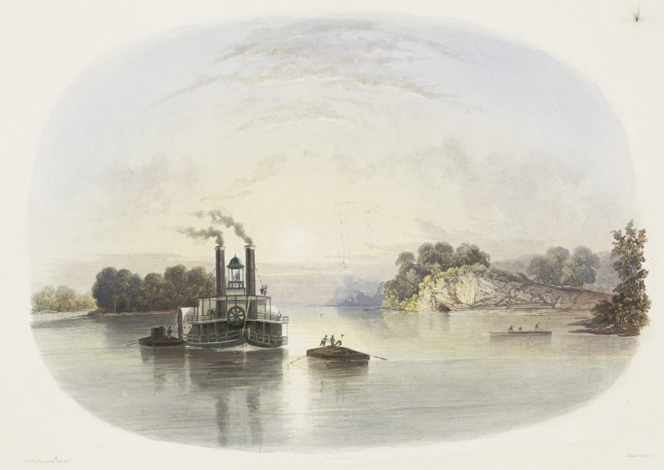 This fanciful illustration of Cave-in-Rock from the 1840s shows a steamboat and flatboats on the Ohio River with the cave in the distance. Courtesy of the The New York Public Library, Rare Book Division. Public domain.