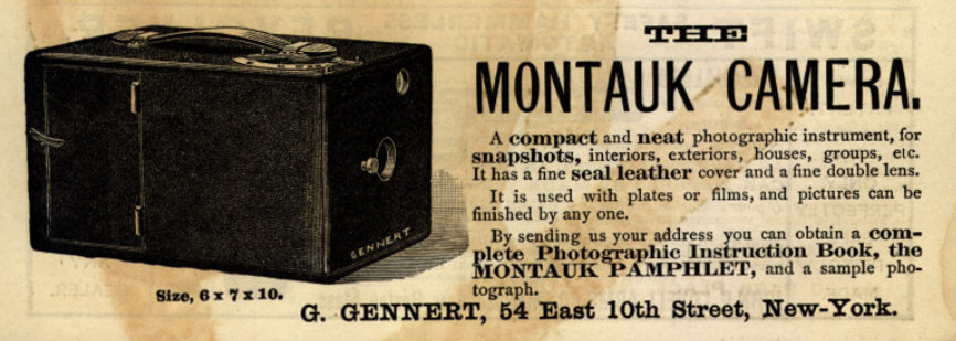 This 1890s advertisement shows the Montauk camera mentioned in the story. Kodak was making a very similar box camera at the time.