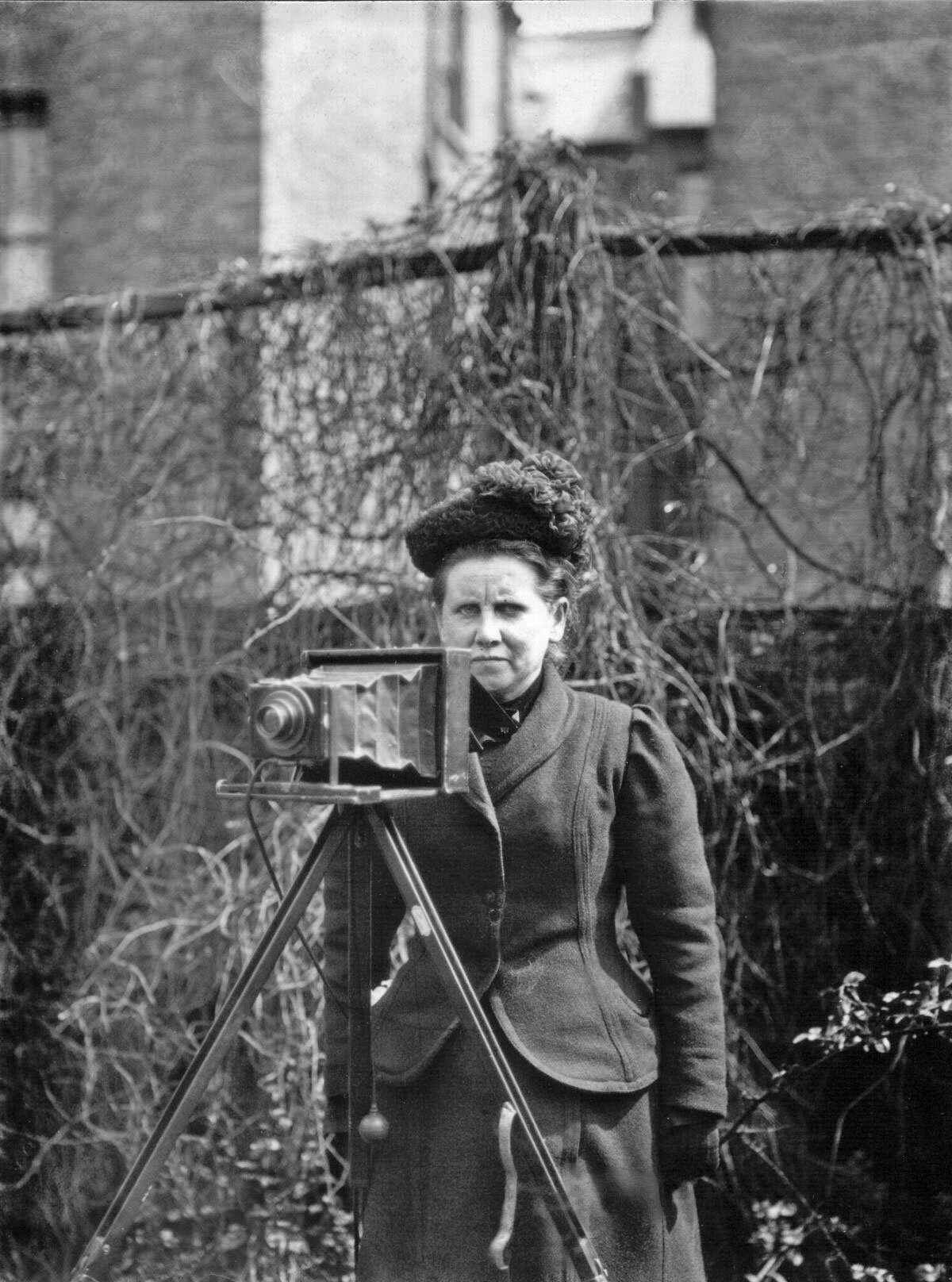 Photo of Christina Broom, the UK's first female press photographer who shot the women's suffragette marches.