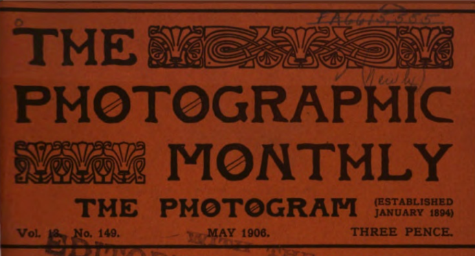 Printed cover for the Photographic Monthly, May 1906 issue.