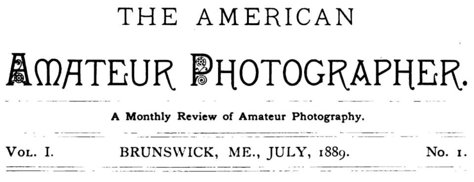 1889 Logo for The American Amateur Photographer, published in Brunswick, Maine from 1889-1906.