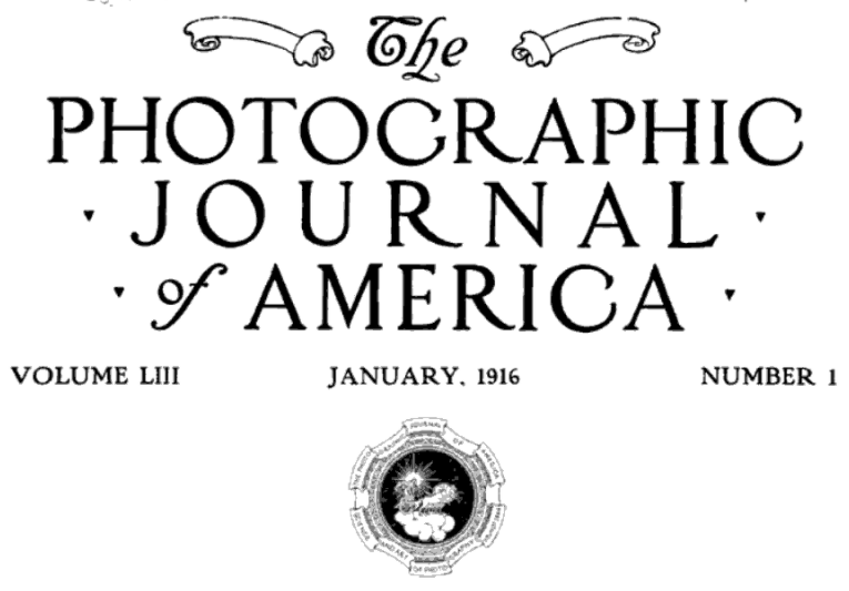 The Photographic Journal of America January, 1916 name plate.