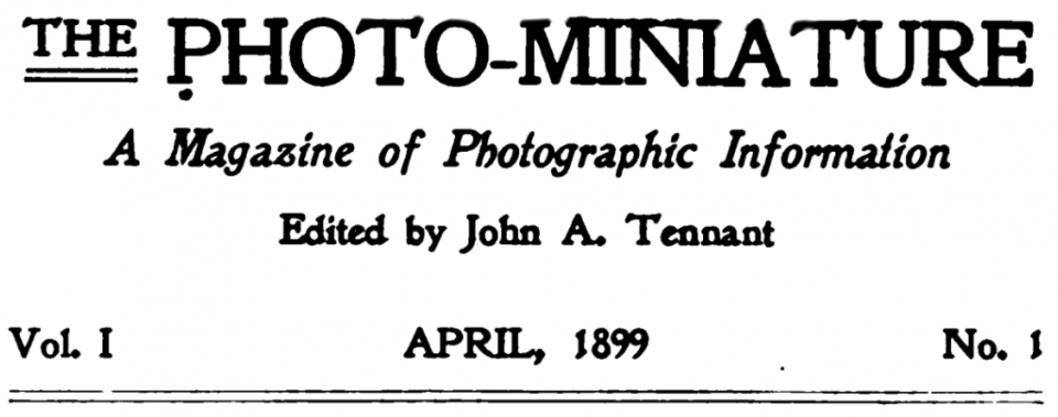 April 1899 masthead for The Photo-Miniature: A Magazine of Photographic Information.