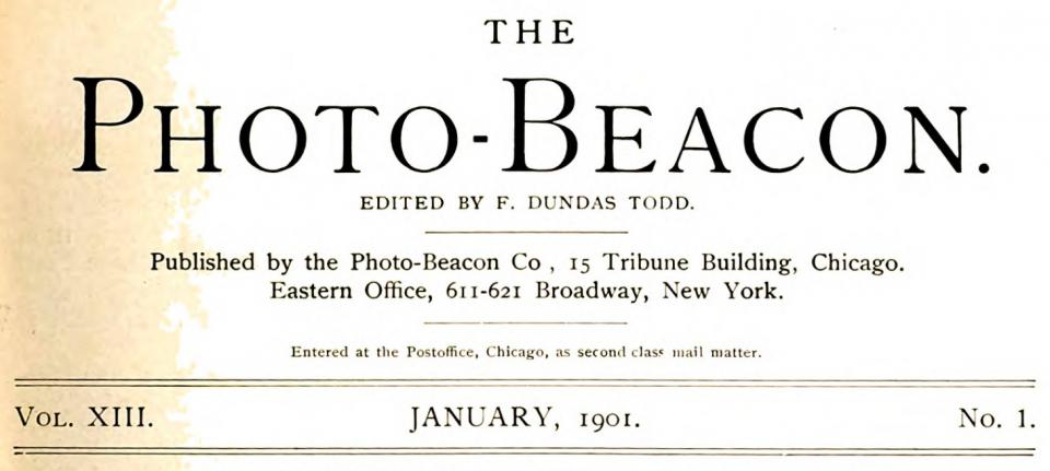 Masthead for The Photo-Beacon, published in Chicago.