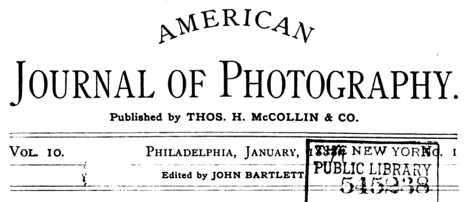 The American Journal of Photography, published from 1879-1900 in Philadelphia.