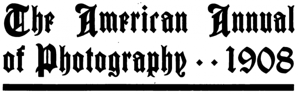 A very gothic masthead for the American Annual of Photography, published for nearly half a century beginning in 1908.