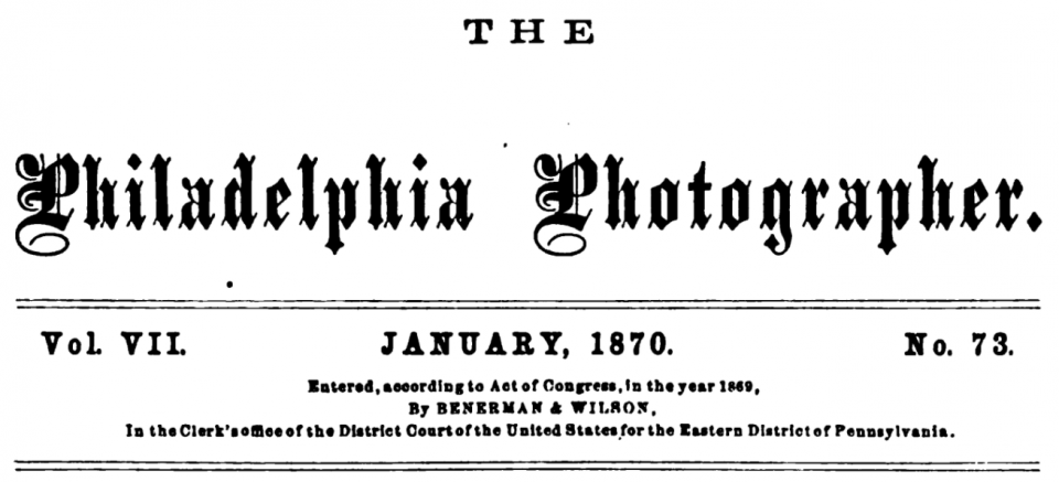 Masthead for The Philadelphia Photographer January, 1870 issue.