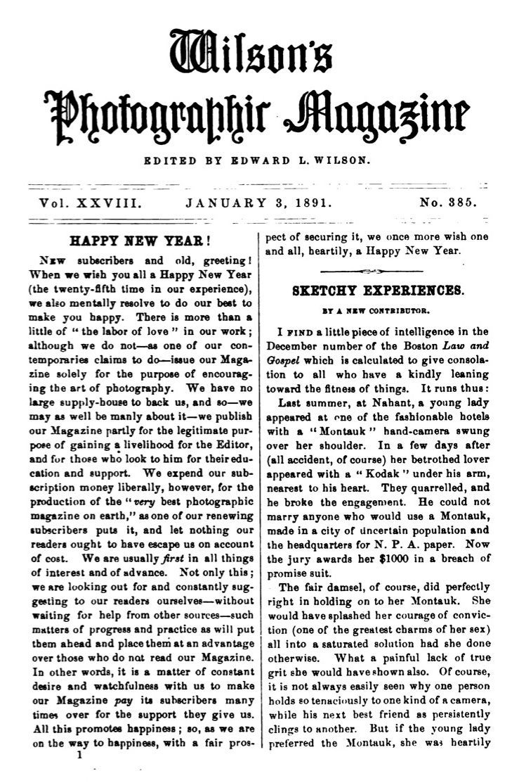 Page from the January 3, 1891 issue of Wilson's Photographic Magazine, published by Edward L. Wilson
