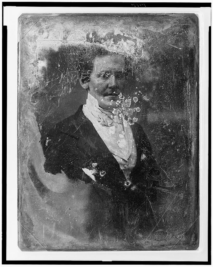 This is a great example of a seriously degraded daguerreotype, shot by Mathew Brady. Unidentified man, half-length portrait, three-quarters to the right, Library of Congress Prints and Photographs Division Washington, http://hdl.loc.gov/loc.pnp/cph.3c10170