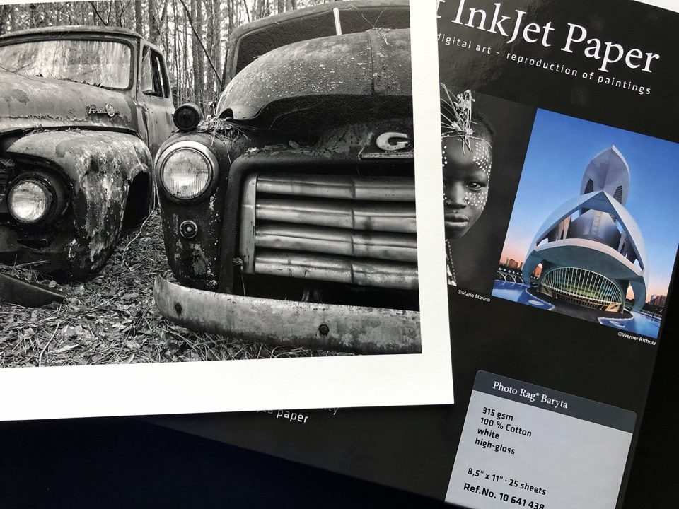 Hahnemühle Photo Rag Baryta -- the museum archival quality of a cotton substrate combined a beautiful baryta coated surface.