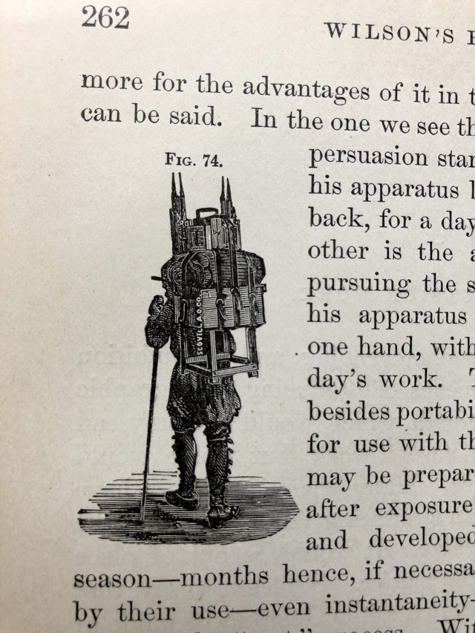 1881 version of a camera backpack, from page 262 of Wilson's Photographics, published 1881.
