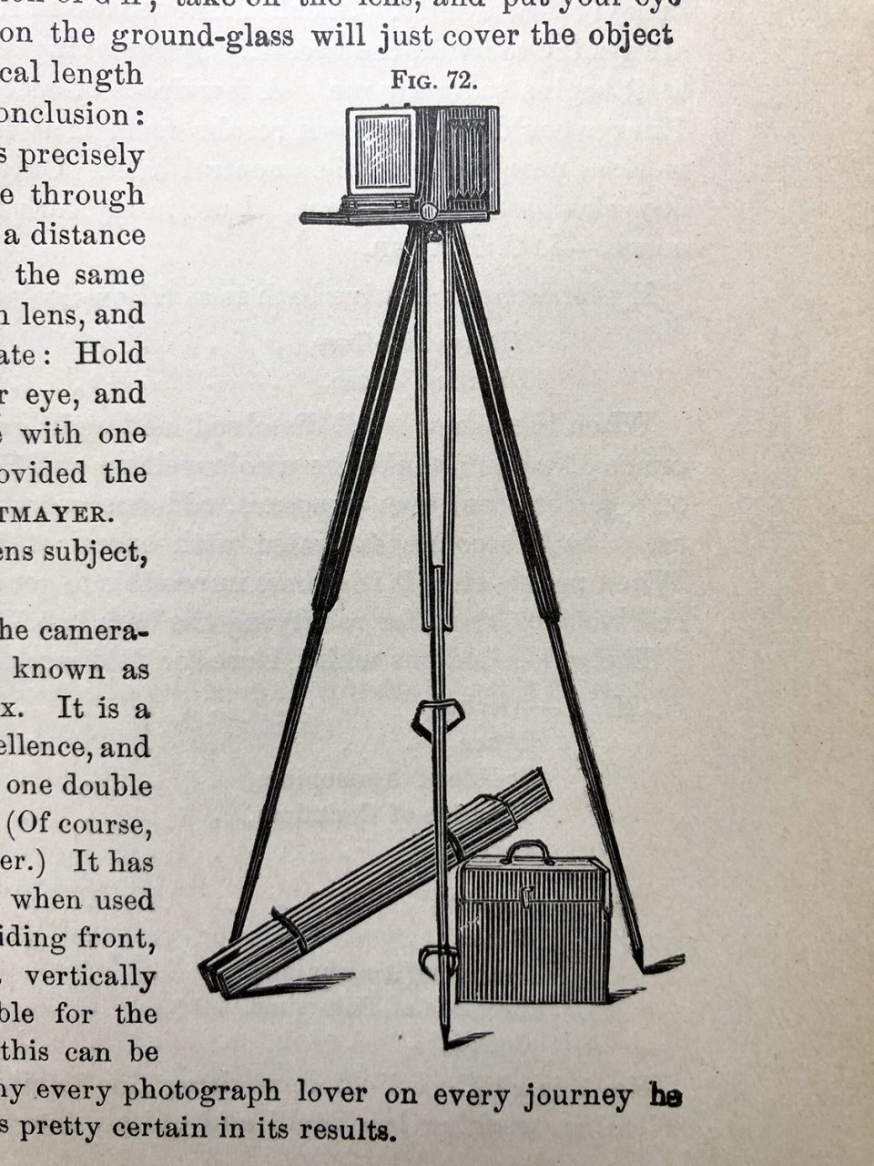Engraved illustration of a typical camera set-up in the 1880s.
