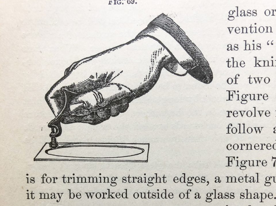An illustration demonstrating how to cut oval window mats from the 1881 Wilson's Photographics.