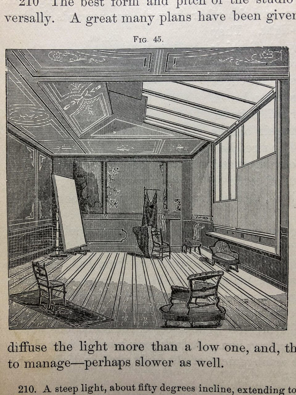 An illustration of one possible studio set up, with natural light from skylight windows, and a reflector along the wall. From Wilson's Photographics, published 1881.