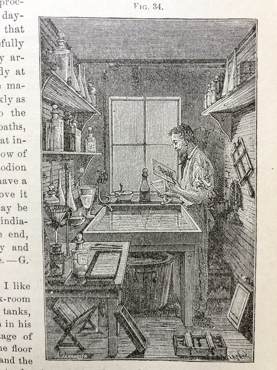 This engraving depicts a photographer working in the darkroom, from Wilson's Photographics, circa 1881.