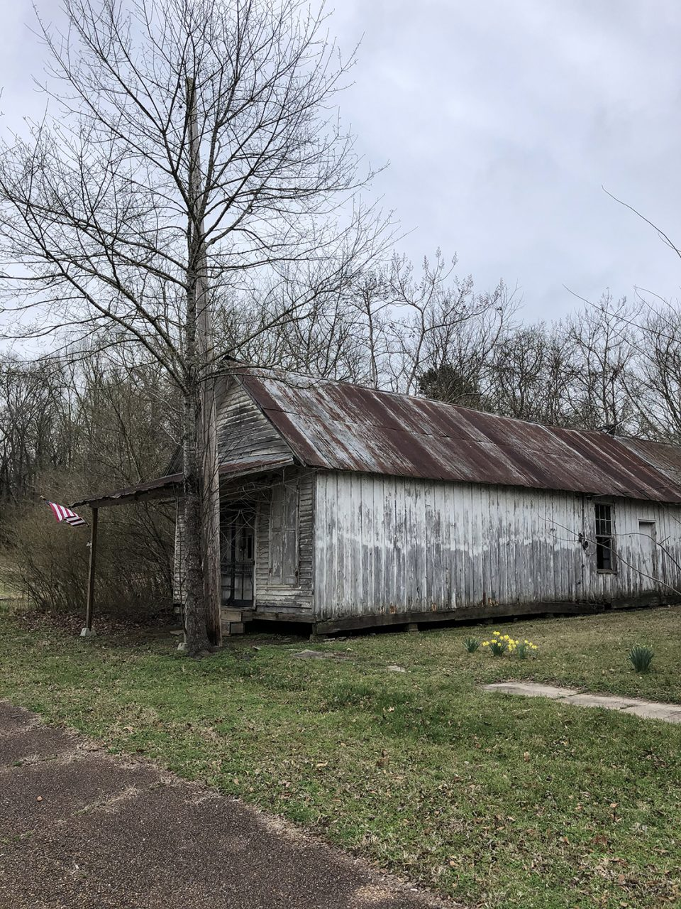 An old wooden mercantile store. All of the abandoned buildings had new flags -- a sign of local pride? Notice the daffodils in bloom.