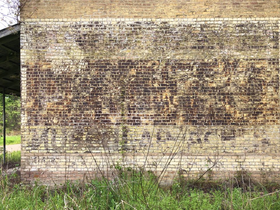 """Photograph of the ghost sign on the wall of the ruins at Hushpuckena, Mississippi. The only part I could decipher were the words """"Muscular Aches"""" across the bottom. Photograph copyright 2021 by Keith Dotson. All rights reserved."""