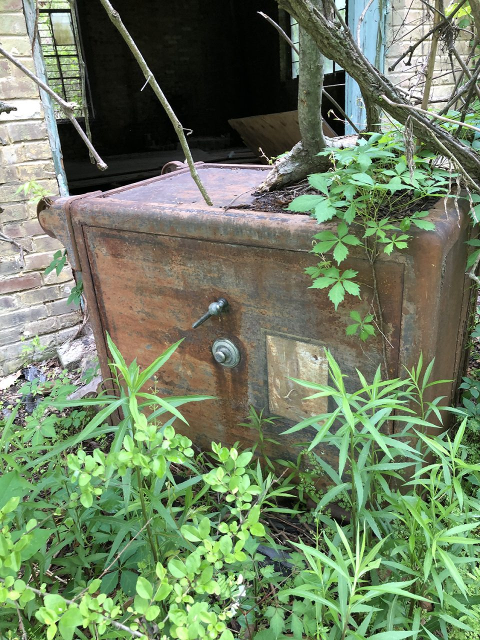There's a rusty old Mosler safe lying in the weeds along the side of the ruined R.C. Tibbs & Sons building in Hushpuckena. Photograph copyright 2021 by Keith Dotson. All rights reserved.