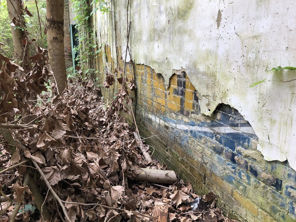 This photograph shows the wall adjacent to the Tibbs store with parts of a former wall ad visible under the wall plaster. Apparently this building was constructed later than the Tibbs building. Photograph copyright 2021 by Keith Dotson. All rights reserved.