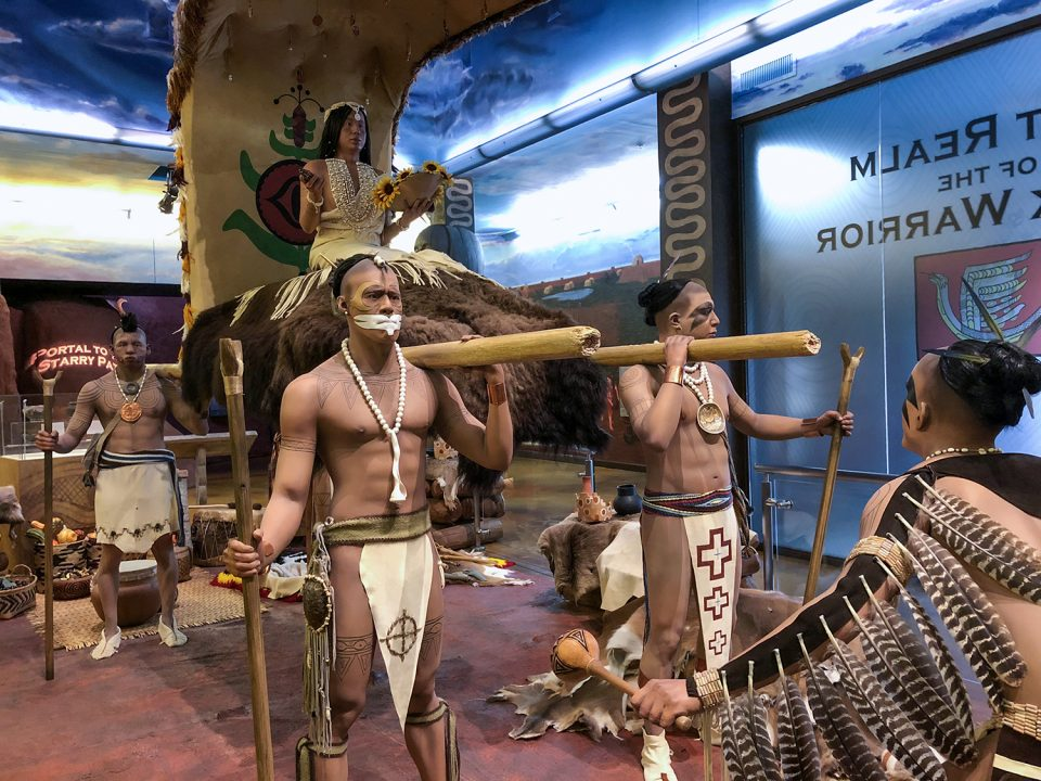 Statues of Mississippian culture Native Americans Inside the beautiful museum at Moundville Archaeological Site, Alabama.