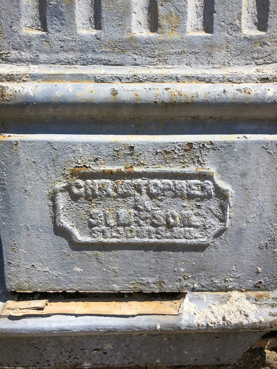 Nameplate on a column manufactured by Christopher & Simpson, seen in Yazoo City.