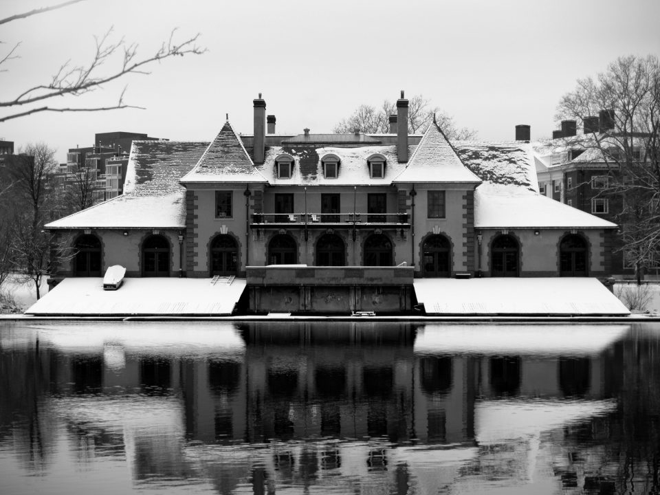 Weld Boathouse in Winter, a black and white photograph by Keith Dotson. Buy a fine art print here.